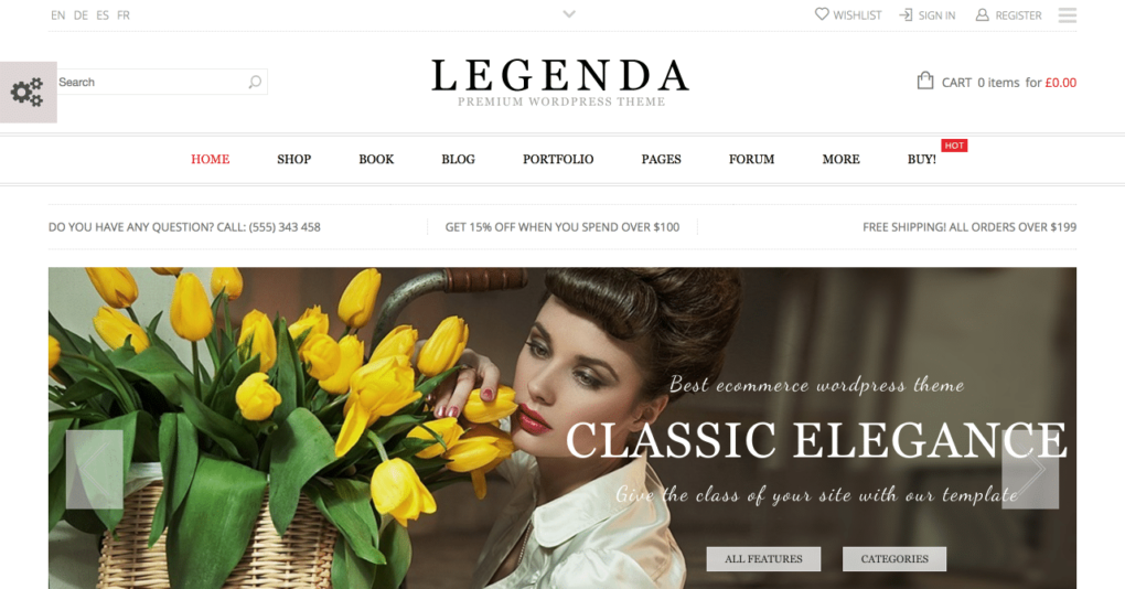 legenda wordpress theme for ecommerce website design